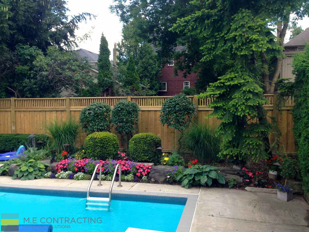 M.E. Contracting, fiberglass pool, landscaping, interlocking, patio, stone veneer, coping flagstone, retaining wall, cedar fence