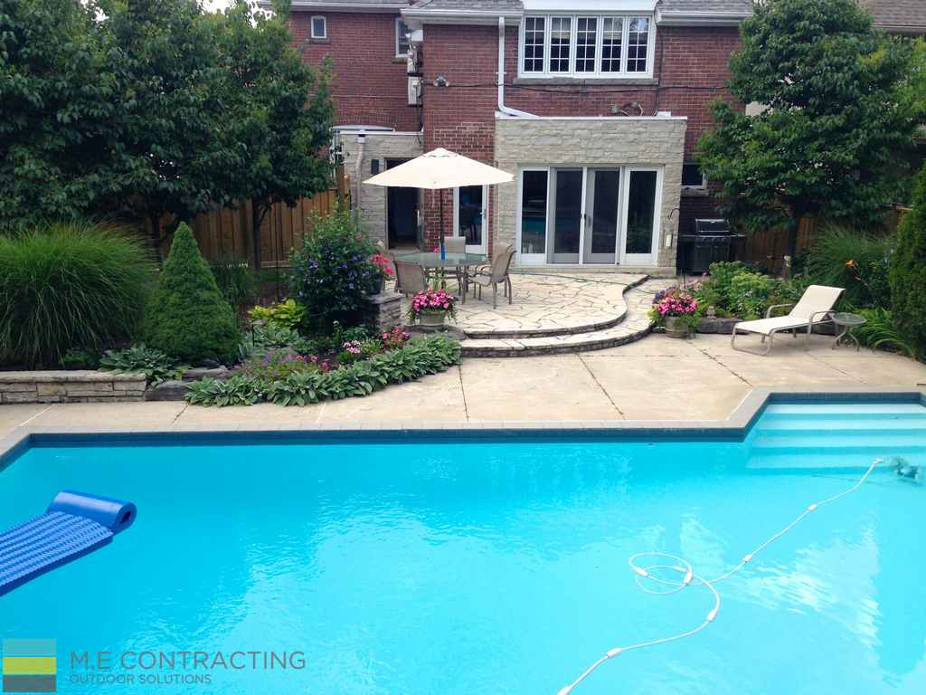 M.E. Contracting, fiberglass pool, landscaping, interlocking, patio, stone veneer, coping flagstone, retaining wall