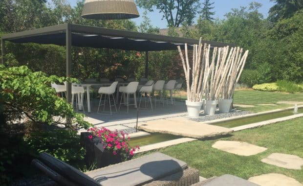 Landscaping design Project with interlocking and Pergola
