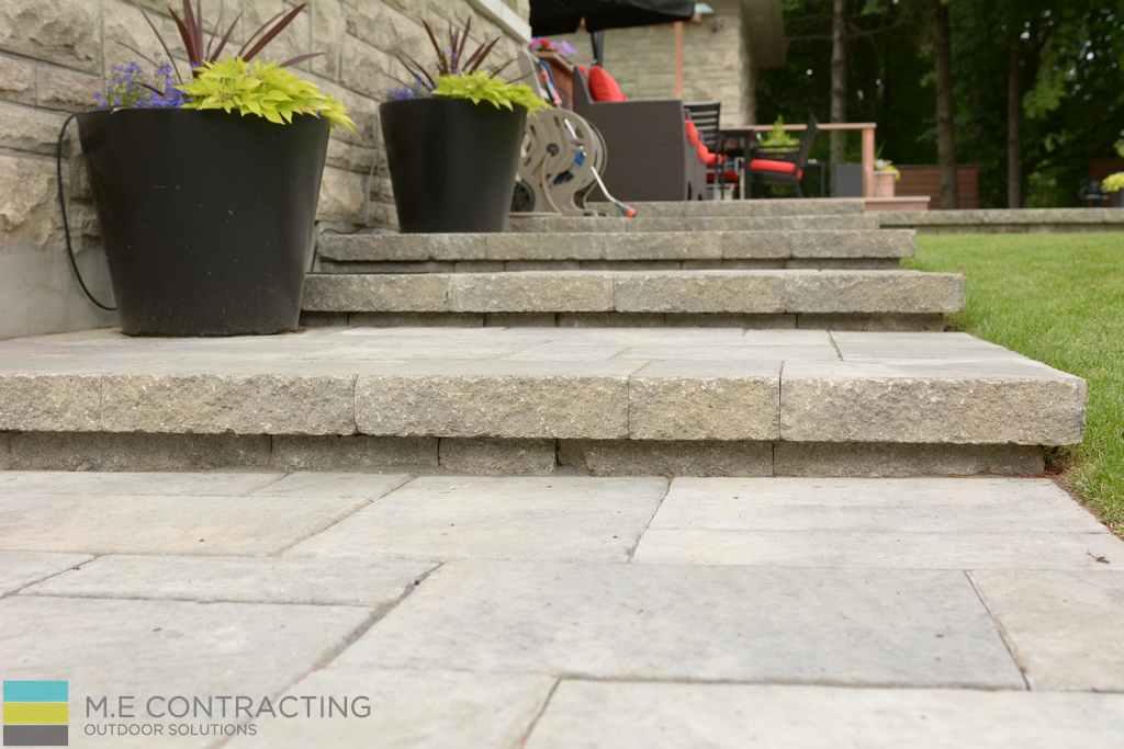 Interlocking stone steps, landscaping