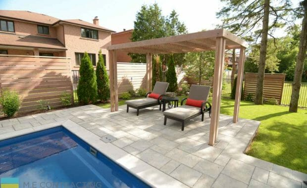 Landscaping design, composite deck, pool installation and flagstone interlocking