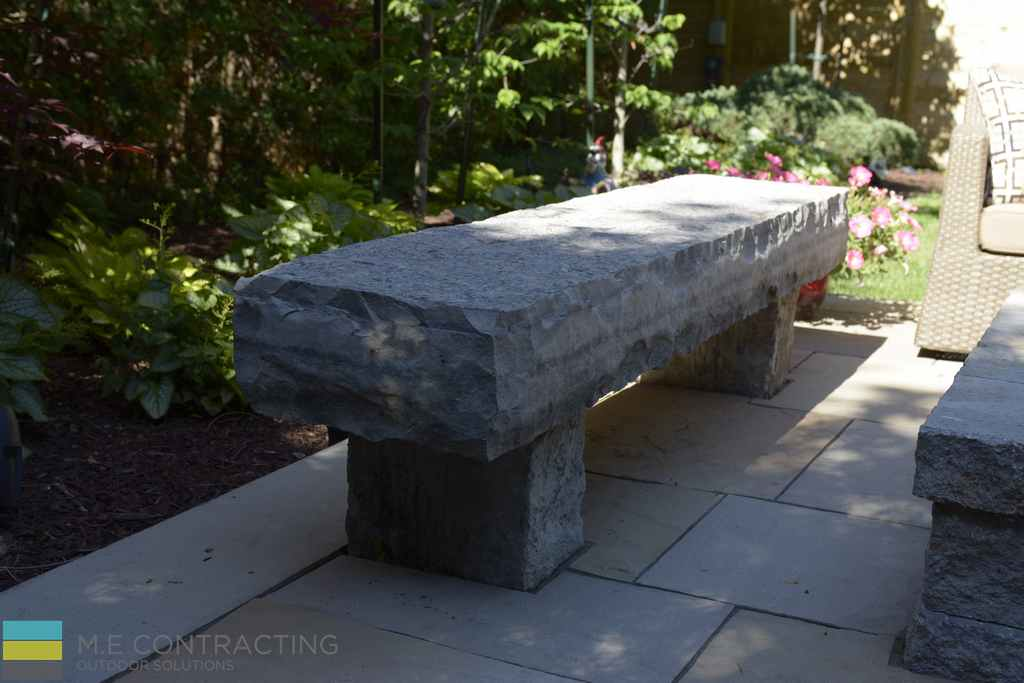 Armor stone bench, interlocking, landscaping, garden, stone fire pit, outdoor furniture