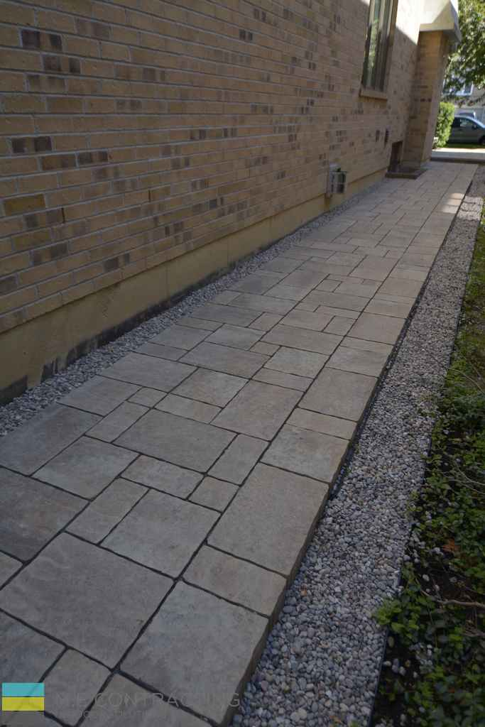Interlocking walkway, stone pebbles, landscaping