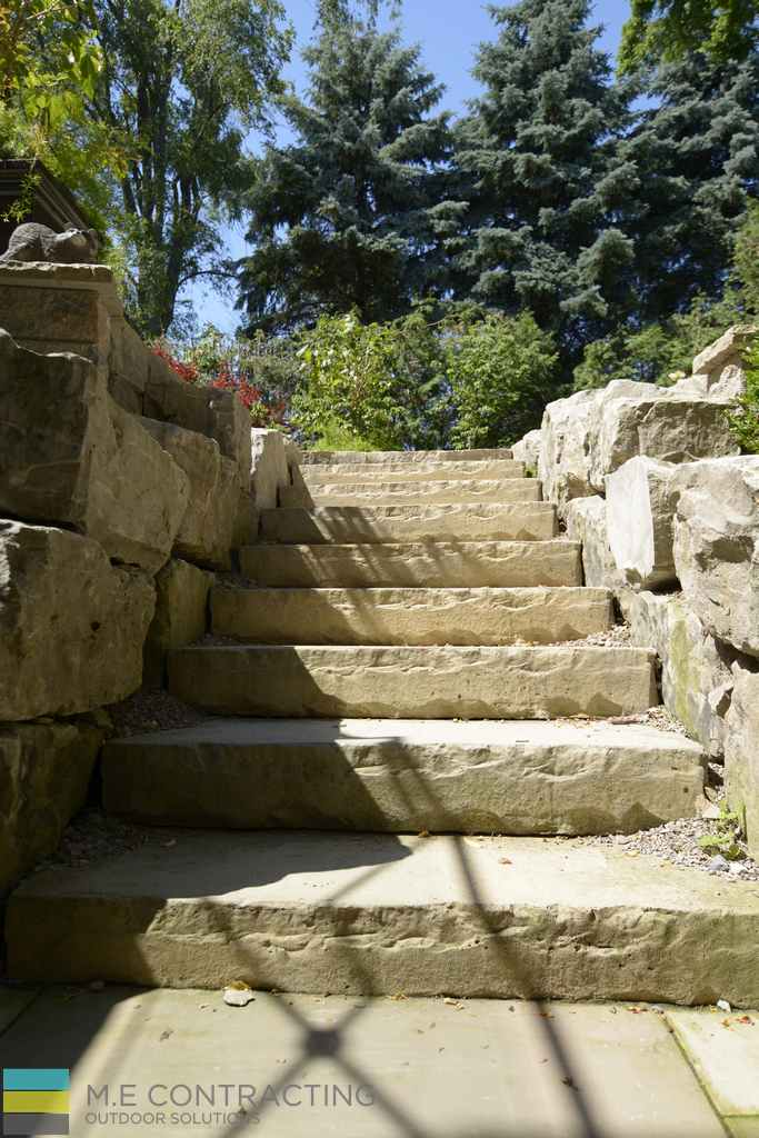 Stone interlocking, Stone steps, armor stone, landscaping, flower garden, outdoor furniture