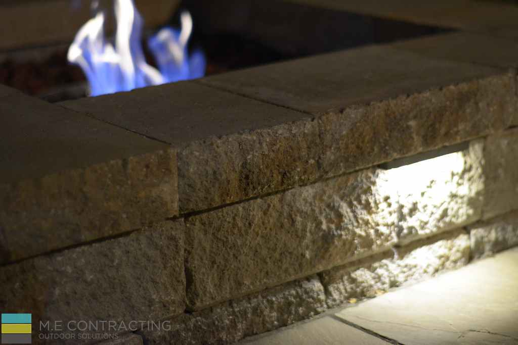 Stone interlocking, stone fire pit with LED landscaping light, outdoor furniture