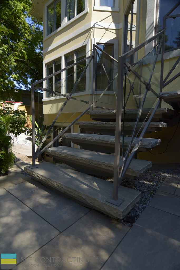 Interlocking stone, stone steps, tempered glass railings, aluminum frames,stone ppebbles