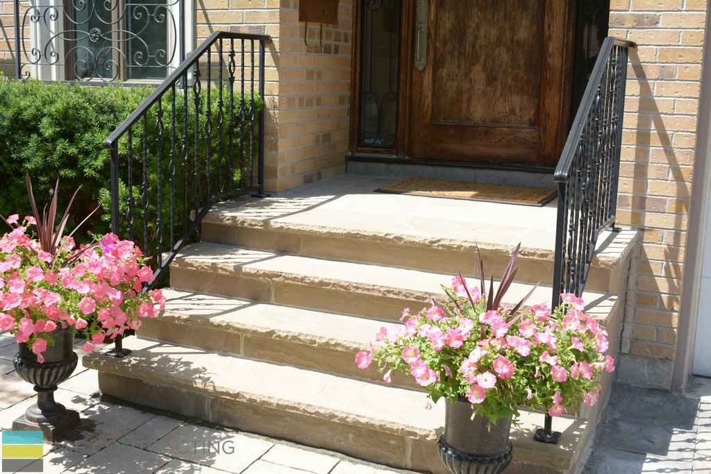 Stone steps, wrought iron railings, interlocking, landscaping