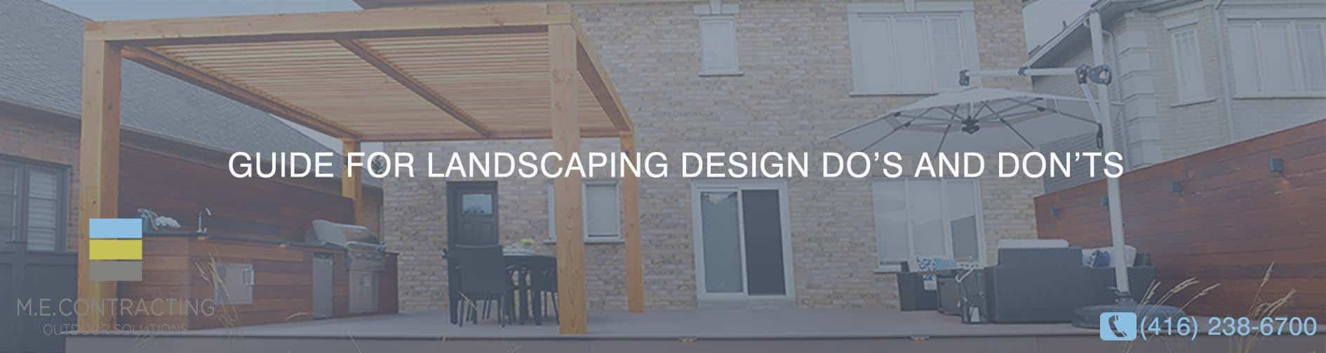 GUIDE FOR LANDSCAPING DESIGN DO'S AND DON'TS