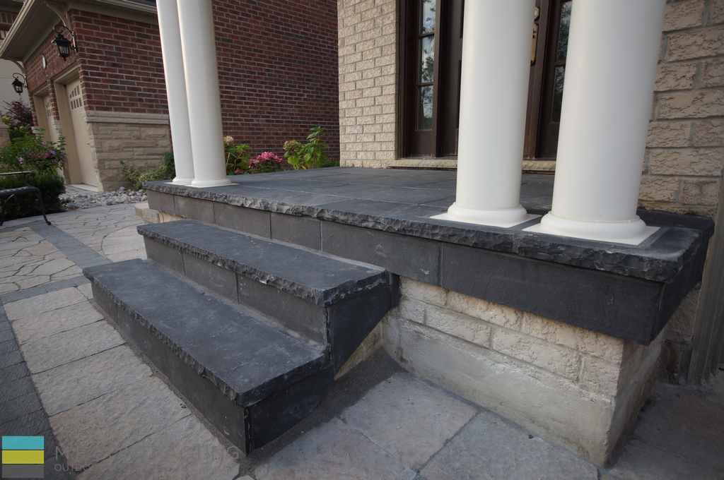 Coping flagstone steps and front porch, interlocking, landscaping