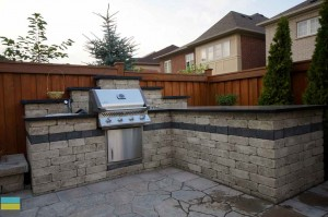 Landscaping, outdoor kitchen, interlocking, coping flagstone, stainless steel, IPE fence