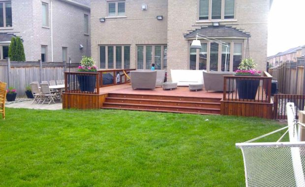 IPE deck, aluminum railing with IPE frame, landscaping, outdoor furniture
