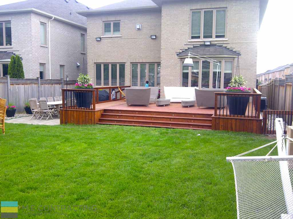 Landscaping project with 2 decks and interlocking area - M.E. Contracting | Toronto Landscaping ...
