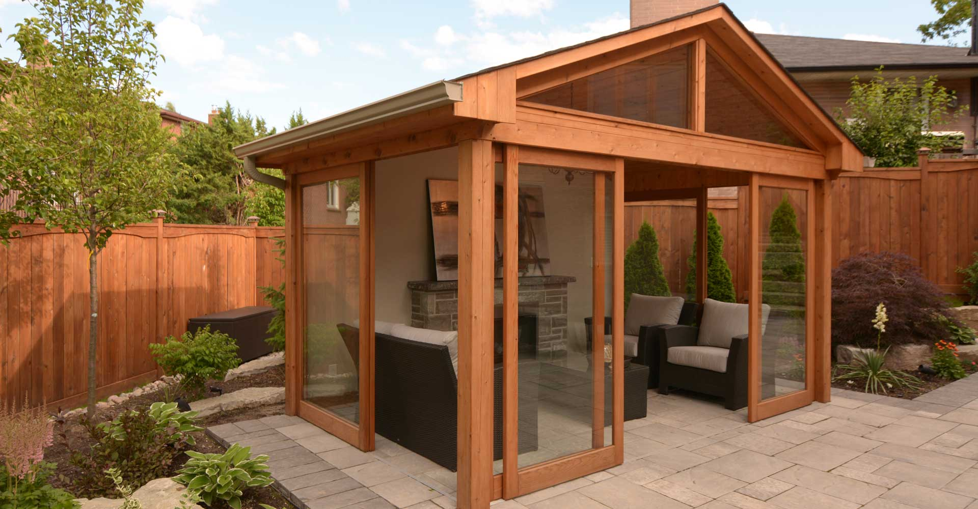 Toronto gazebo design and build m e contracting decks for Cedar sunroom