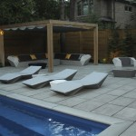 Cedar pergola, cedar fence, fiberglass, interlocking patio, vondom furniture, coping stone