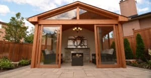 Cedar shed, interlocking, armor stone, landscaping, cedar fence