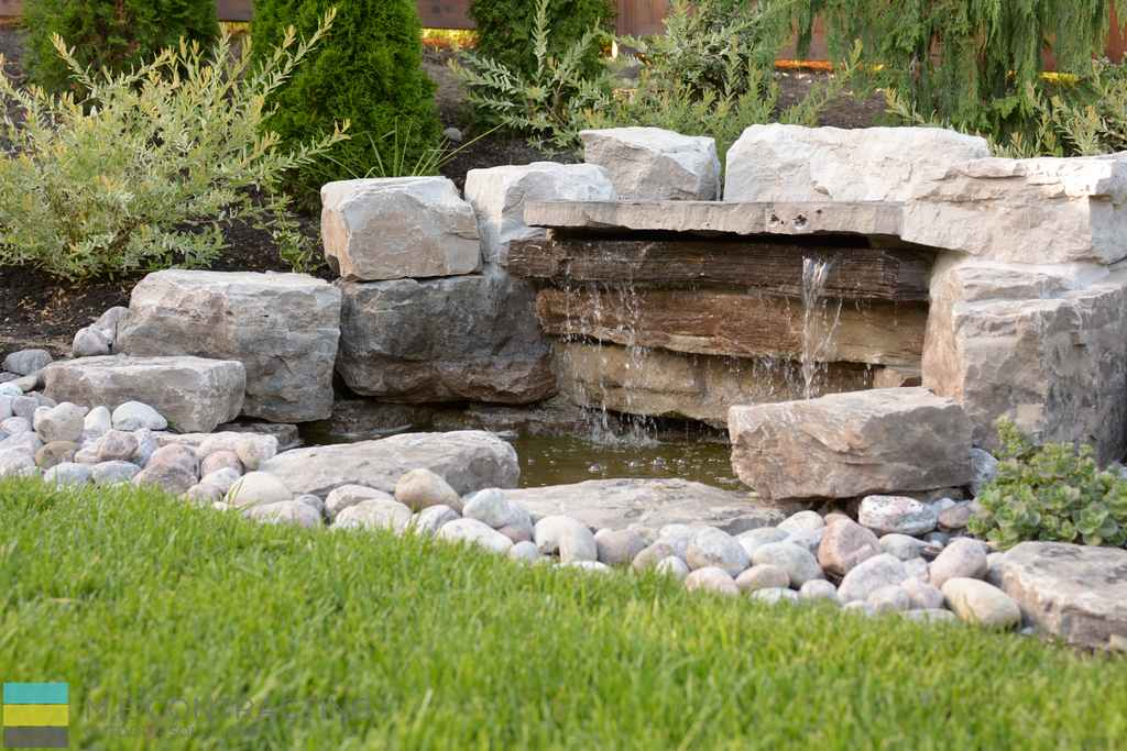 Armor stone, landscaping, water feature, stone pebbels