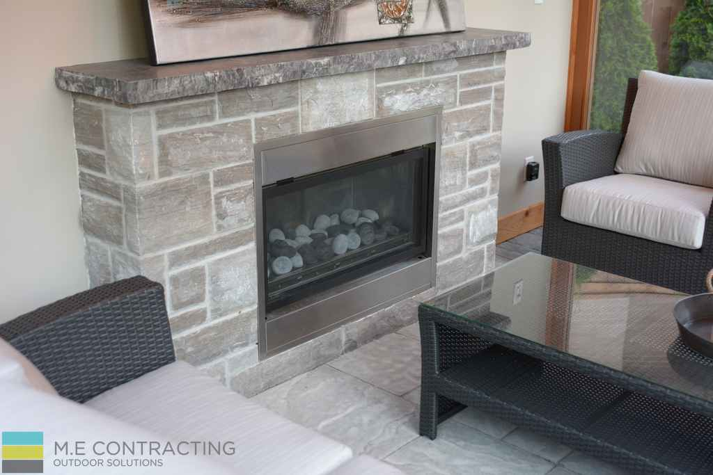 Stainless steel fireplace, interlocking, coping flagstone cedar shed