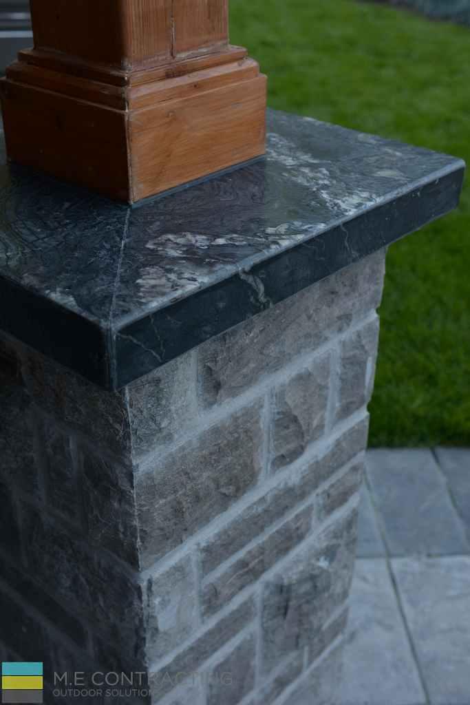 Coping flagstone, interlocking, landscaping, cedar posts