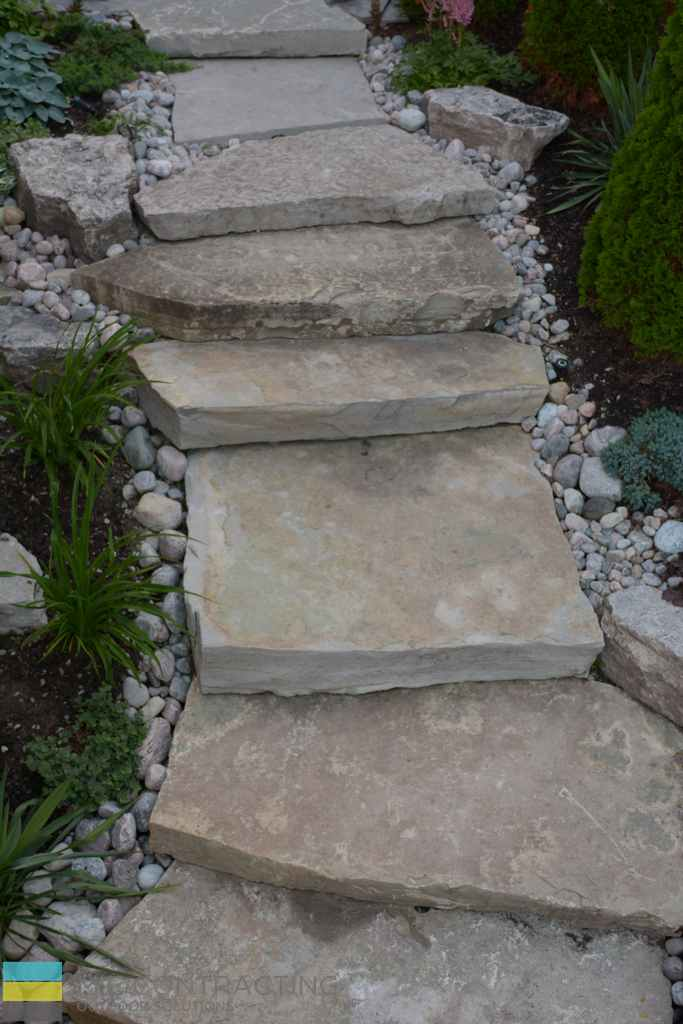 Stone steps, stone pebbles, landscaping