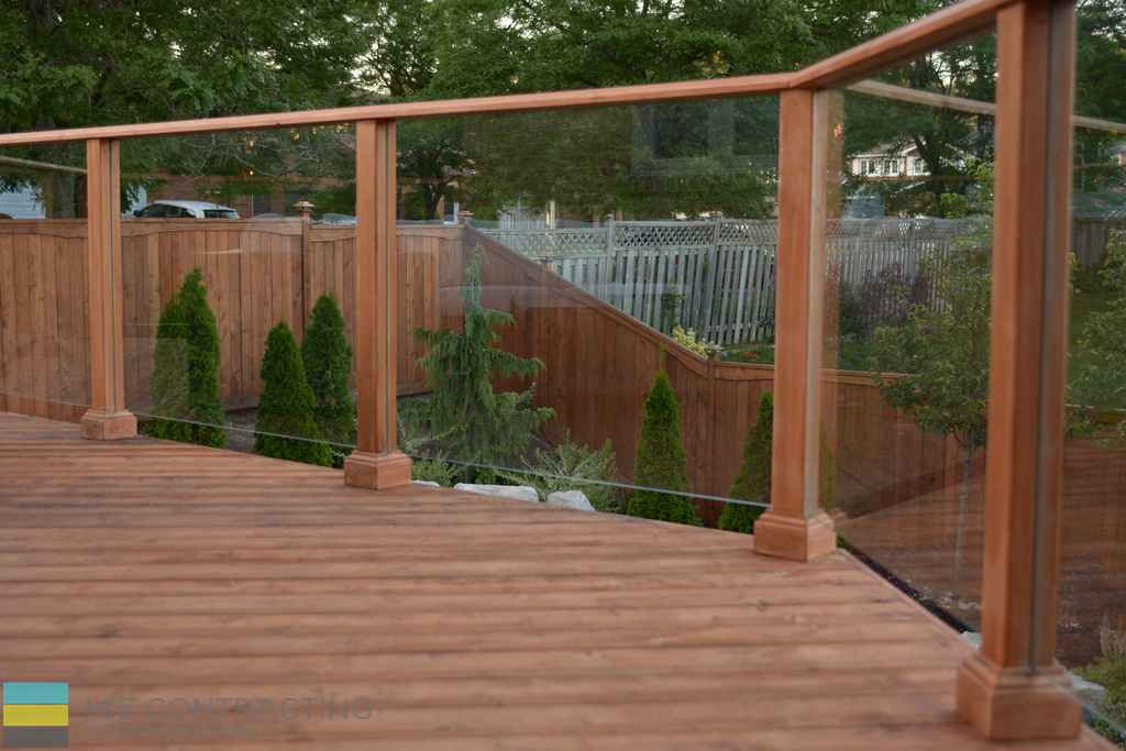 Cedar deck, tempered glass, cedar fence, landscaping