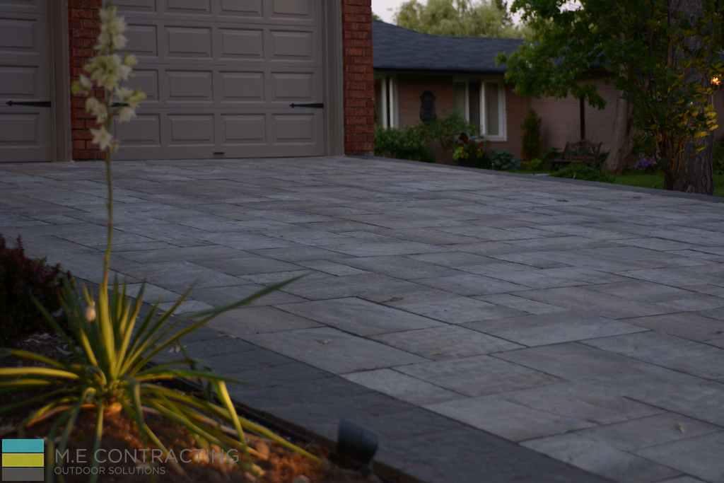 Interlocking driveway, landscaping, lighting