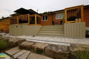 PVC deck, aluminum railing with wood frame, outdoor patio, with storage and skirt, armor stone,