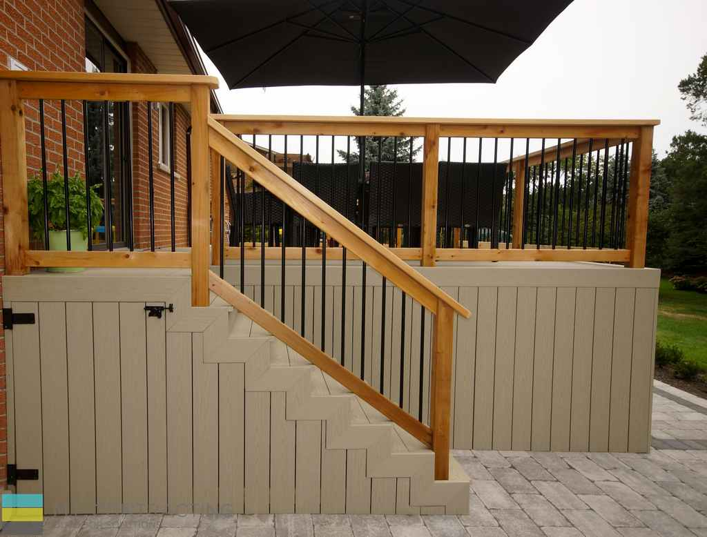 PVC deck, aluminum railing with wood frame, outdoor patio, with storage and skirt