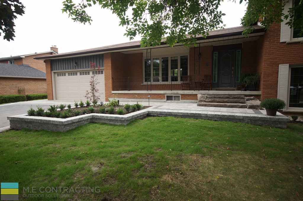 Landscaping, retaining wall, driveway, stone steps