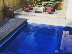 Leisure fiberglass pool with PVC deck material and interlocking