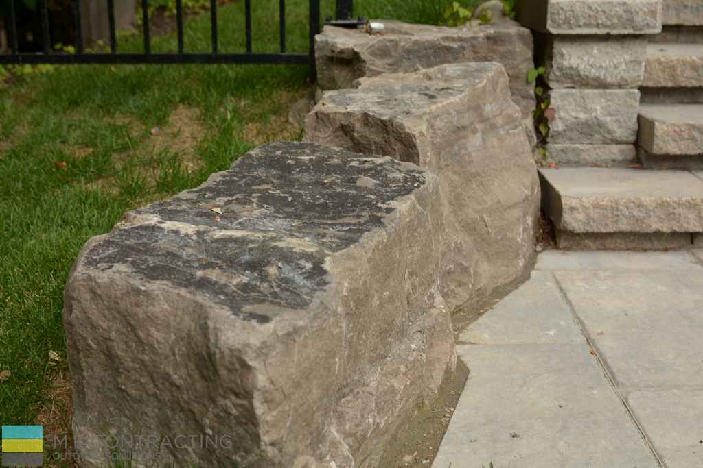 Armor stone, interlocking, landscaping, aluminum fence, stone patio