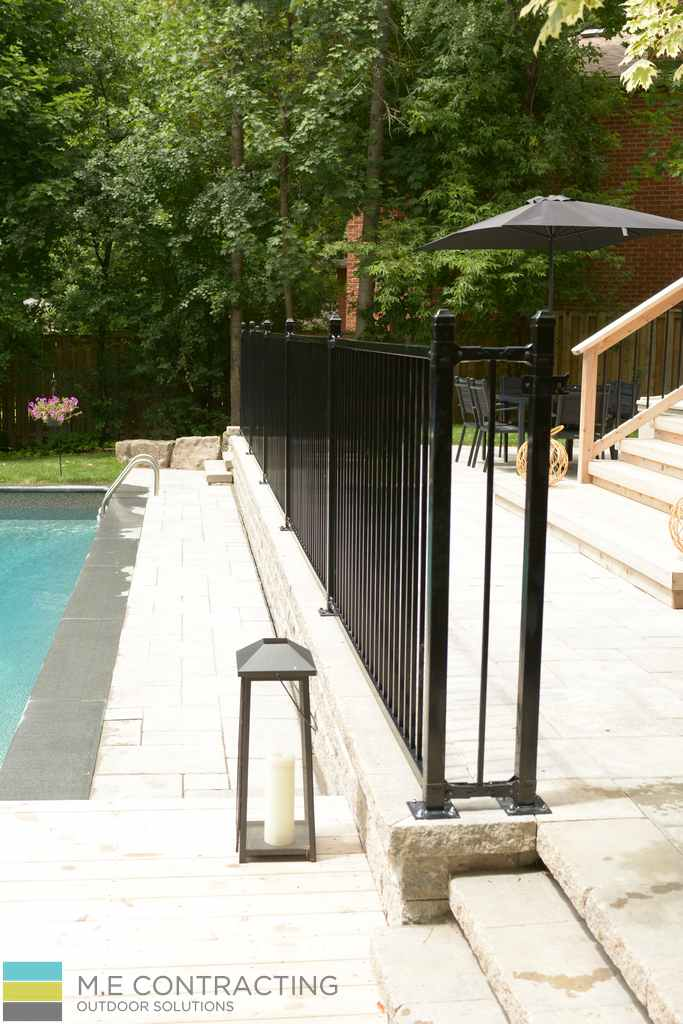 Fiberglass pool, aluminum railings, interlocking stone walkway, cedar deck landscaping, cedar deck